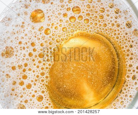 Glass of beer. Top view of lager beer or light beer.