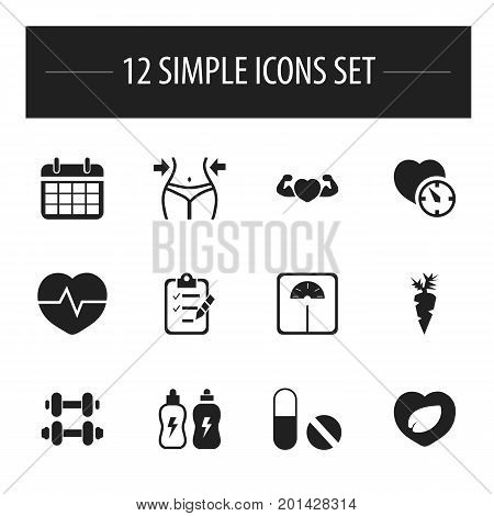 Set Of 12 Editable Sport Icons. Includes Symbols Such As Energetic Beverage, Root Vegetable, Questionnaire And More