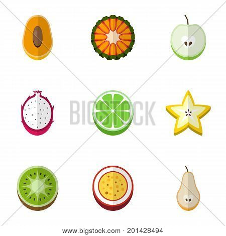 Set Of 9 Editable Berry Flat Icons. Includes Symbols Such As Exotic Dessert, Duchess, Juicy And More