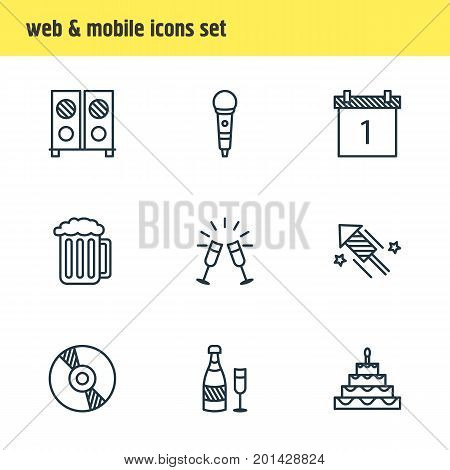 Editable Pack Of Goblet, Draught, Compact Disk And Other Elements.  Vector Illustration Of 9 Party Icons.