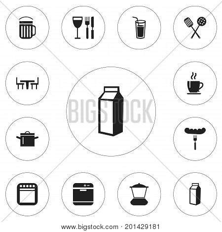 Set Of 12 Editable Cooking Icons. Includes Symbols Such As Tableware, Milk Bottle, Cooker And More