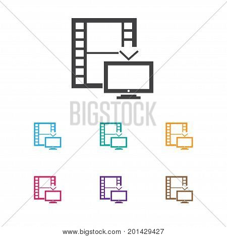 Vector Illustration Of Cinema Symbol On Telly Icon