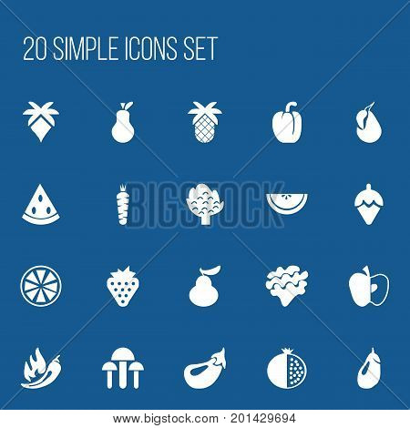 Set Of 20 Editable Berry Icons. Includes Symbols Such As Carrot, Tropical Fruit, Cantaloupe And More