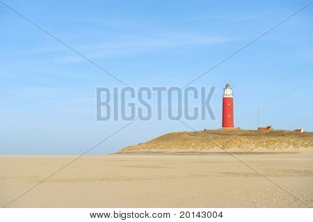 Red lighthouse at the beach from Texel