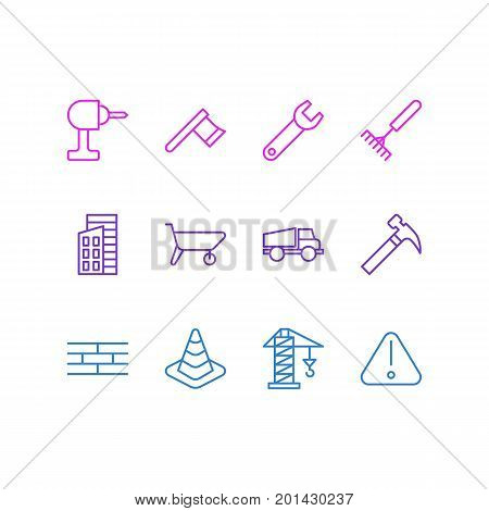 Editable Pack Of Spanner, Lifting, Caution And Other Elements.  Vector Illustration Of 12 Industry Icons.