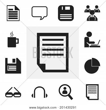 Set Of 12 Editable Bureau Icons. Includes Symbols Such As Diskette, Worker In Laptop, Earphone And More