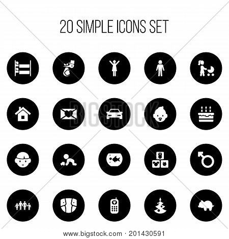 Set Of 20 Editable Kin Icons. Includes Symbols Such As Fish Tank, Moneybox, Child And More