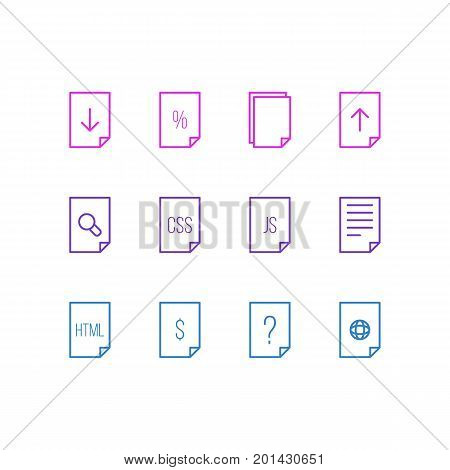 Editable Pack Of Percent, Copy, Search And Other Elements.  Vector Illustration Of 12 File Icons.