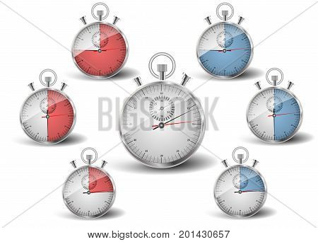 A set of seven stopwatch. The measured time is fifteen, thirty, forty five seconds: to be in time, late.