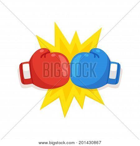 Boxing gloves fight icon red vs blue. Battle emblem cartoon vector illustration.