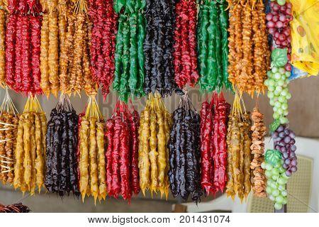 Street Stall With Typical Georgian Candy - Churchkhela And Georgian Spices. Tbilisi, Georgia