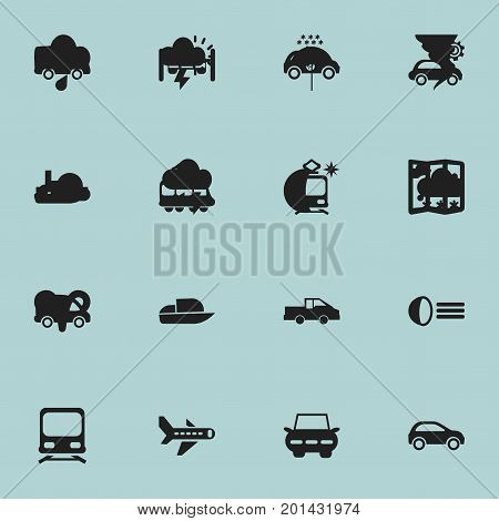 Set Of 16 Editable Transportation Icons. Includes Symbols Such As Tramcar, Streetcar, Wagon And More