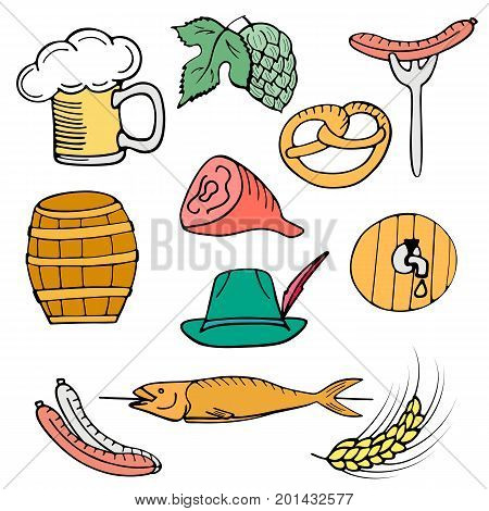 Oktoberfest National German Festival. Set of a glass of beer with foam, sausage on a fork, pretzel, pork ham, fish on stick, hops, barley, barrel, hat. Hand drawn doodle isolated on white background
