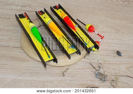 Floats and fishing gear. fishing tackle on the table