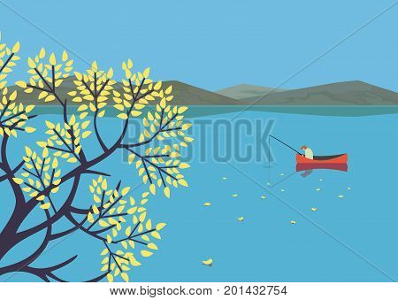 Mountain green valley landscape.Autumn season lake scenic view poster.Fisherman on calm river in Alps mountains. Leaf fall on water. Freehand cartoon retro style. Vector countryside outdoor background