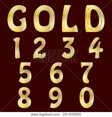 A complete set of numbers with gold striped surface. Font is isolated by a velvety dark crimson background. Vector illustration.