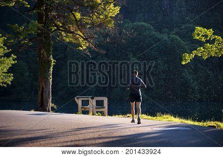BLED LAKE SLOVENIA - SEPTEMBER 6: Man Run in Beautiful Morning Light at Famous Bled Lake National Park Slovenia on September 6 2017.