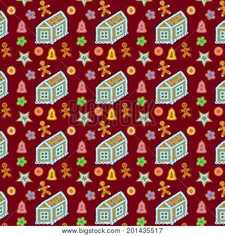 Gingerbread seamless pattern vector house and cookie illustration