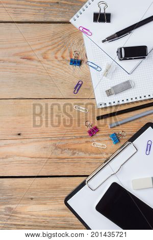 Business Accessories, Supplies, Phone On Rustic Wooden Table