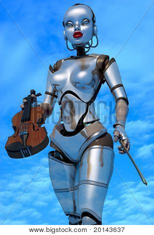 Robot with a violin against the sky.