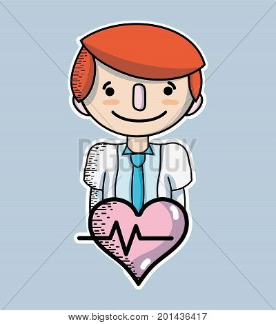 man with hairstyle design and heartbeat vector illustration