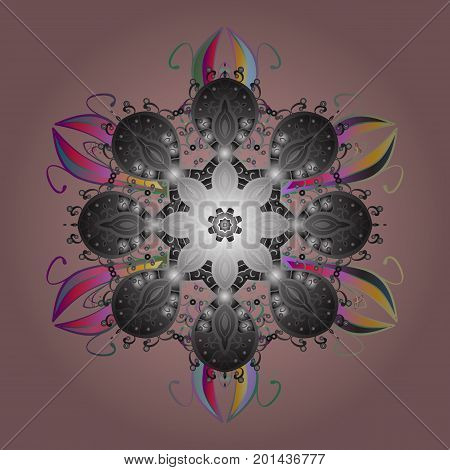 Vector illustration. Snowflake colorful pattern. Vector snowflakes background. Flat design with abstract snowflakes isolated on colors background. Snowflakes pattern.