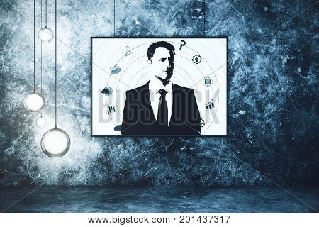 Abstract businessperson portrait in grunge interior. Creative concept. 3D Rendering