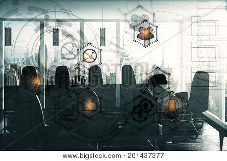 Conference room interior with table chairs city view daylight and digital business hologram. Technology and innovation concept. Double exposure