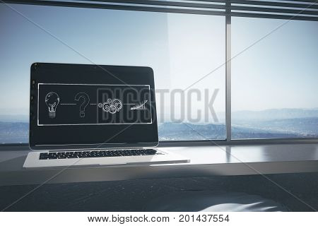 Workplace with laptop abstract digital sketch on screen and landscape view with sunlight. Solution concept. 3D Rendering