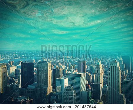 Abstract city and water ocean sea background with copy space. Creativity abstraction and innovation concept