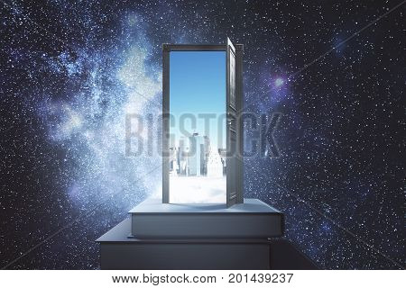 Abstract book with open door and daytime city view on space background. Opportunity imagination and creativity concept. 3D Rendering