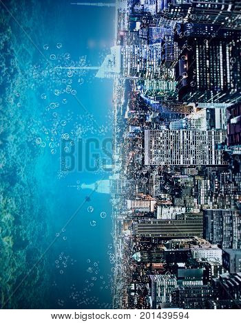Abstract sideways city and water ocean sea backdrop with copy space. Creativity abstraction and innovation concept