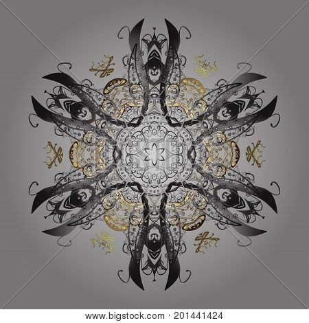 Flat design of snowflakes isolated on colorful background. Snowflake ornamental pattern. Snowflakes background. Snowflakes pattern. Vector illustration.