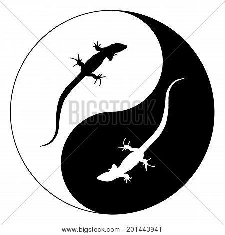 Silhouette lizard Yin Yang. Isolated Vector Illustration. EPS10