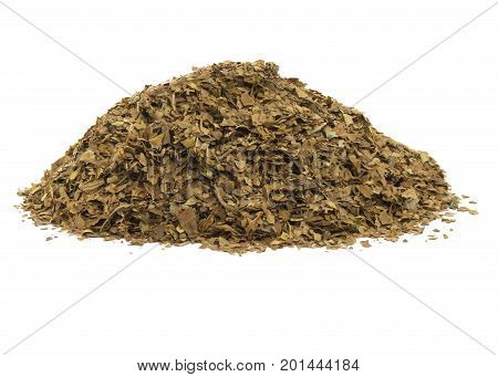 side view image a pile of unprocessed dried tobacco leaves on a white isolated background.