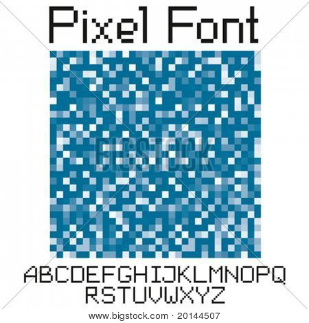vector pixel letters big set uppercase and small character