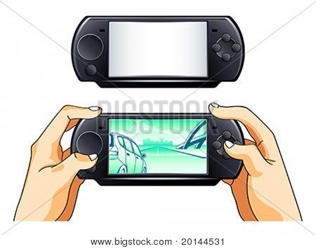 Portable game pad blank and with gamer hands