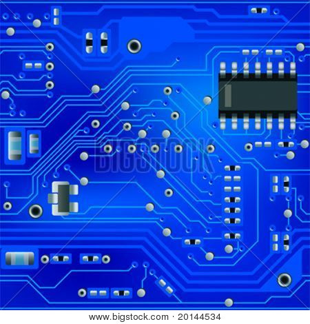 Seamless abstract blue circuit board pattern