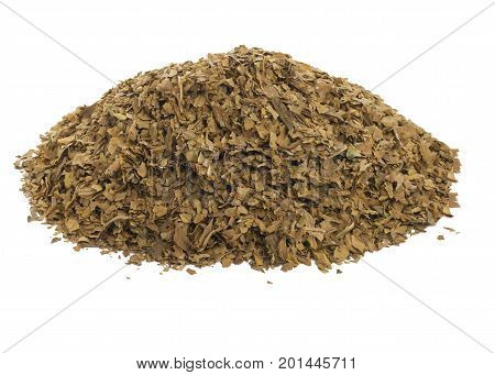 pile of unprocessed dried tobacco leaves, on a  white isolated background.