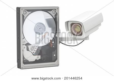 Hard Disk Drive HDD for security surveillance system 3D rendering isolated on white background