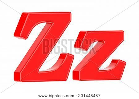 English red letter Z 3D rendering isolated on white background