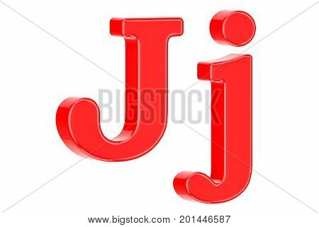 English red letter J 3D rendering isolated on white background