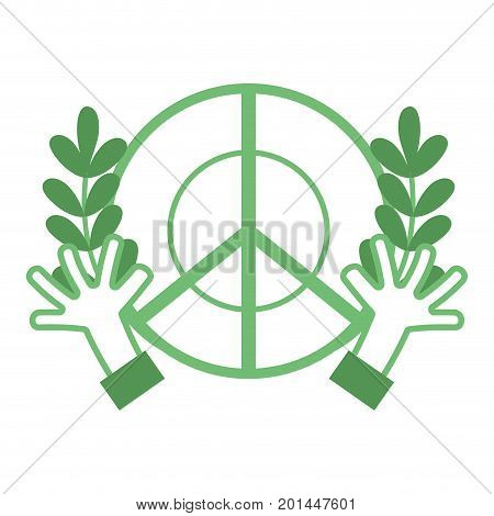 silhouette hippie emblem with hands and branches design vector illustration