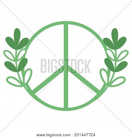silhouette hippie emblem and branches with leaves design vector illustration