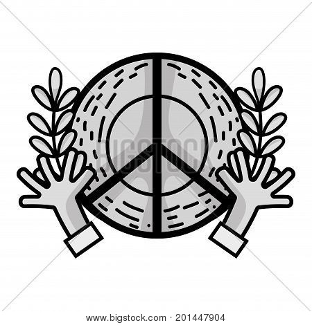 line hippie emblem with hands and branches design vector illustration
