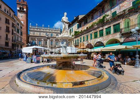VERONA ITALY- September 08 2016: View on Piazza delle Erbe is a square in Verona and fountain Madonna Verona northern Italy.