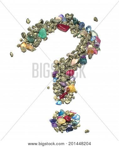 The question mark symbol made out of gems and gold / bronze colored metallic rocks (iron pyrite) on a white background. The symbol is bright and colorful, giving the impression of rocks scattered across a surface.