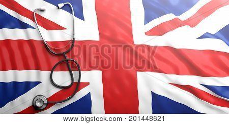 Stethoscope On England Flag, 3D Illustration