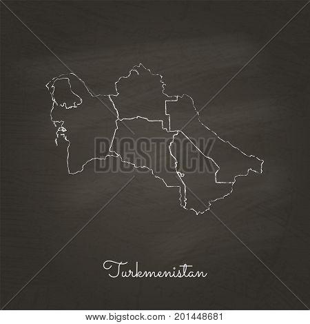 Turkmenistan Region Map: Hand Drawn With White Chalk On School Blackboard Texture. Detailed Map Of T