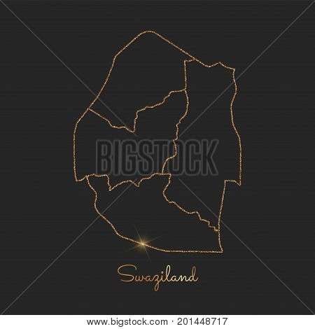 Swaziland Region Map: Golden Glitter Outline With Sparkling Stars On Dark Background. Detailed Map O